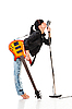 Rock-n-roll girl with guitar kissing retro microphone | Stock Foto