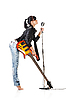 Rock-n-roll girl holding canto guitarra | Foto de stock