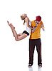 Фото 300 DPI: юная балерина в прыжке и серьезный хип-хоп танцор