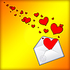 Photo 300 DPI: Open envelope with hearts