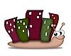 Ślimak z domów na plecach | Stock Illustration