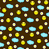 Seamless background with smiley, clouds and daisies | Stock Illustration