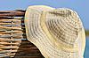 모자 고리 버들 울타리에 매달려 | Stock Foto