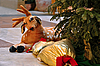 Toy deer under the Christmas tree | Stock Foto