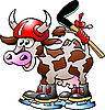 Cow Playing Hockey Sport  | Stock Vector Graphics