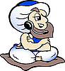 Vector clipart: Genie speaking in headset