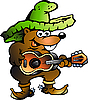 Vector clipart: Mexican Wallaby Playing Guitar