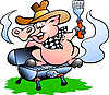 Vector clipart: Pig sitting on BBQ barrel