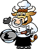 Vector clipart: Bull Chef Cook holding Pan
