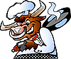 Bull Chef holding Pan over his schoulder