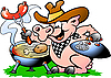 Vector clipart: Pig standing and making BBQ