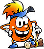 Vector clipart: Orange Gobling with big hammer