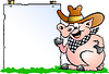 Vector clipart: Pig Chef in front of info board