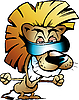Vector clipart: Cool Lion King Cartoon