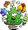 Vector clipart: Christmas Tree Juggles Gifts