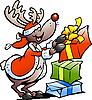 Vector clipart: Reindeer with Christmas gifts