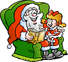 Vector clipart: Santa Claus tells story to an little girl