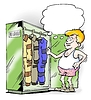 Different jumpsuits in working closet | Stock Illustration