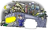 Burglary at junkyard | Stock Illustration