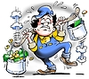 Worker with heavy buckets full of money | Stock Illustration
