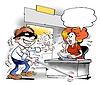 Blind man arrives to WorkShop | Stock Illustration