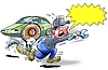 Explosion danger - tire burst | Stock Illustration