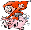Vector clipart: Hand-drawn elf riding on pig