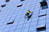 Worker washing windows | 免版税照片