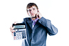 Businessman showing calculator with 1000+ | Stock Foto