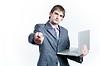 Businessman holding laptop | Stock Foto