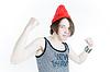 有趣的情绪小将已经在red hat | 免版税照片