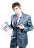 Disappointed businessman with calculator showing zero | Stock Foto