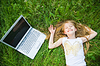 Funny little girl with laptop | Stock Foto