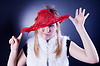 有趣的女孩,头部内裤 | 免版税照片