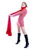 年轻的女孩,长长的红围巾 | 免版税照片