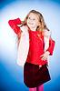 有趣的女孩在红毛衣 | 免版税照片