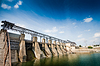 Wide angle view of dam | Stock Foto