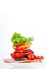 Tomatoes, ham and salad | Stock Foto