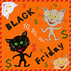 Vector clipart: Amusing cats announcing Black Friday