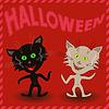 Inschrift Halloween und zwei amüsant Katzen