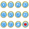 Vector clipart: set of gold number buttons