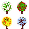 Vector clipart: season apple trees