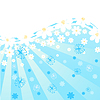 Vector clipart: blue background with flowers and butterflies