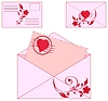 Vector clipart: envelopes with floral ornament and heart