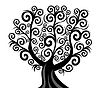 Vector clipart: illustration of curl tree isolated on white