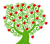 Vector clipart: curl tree with hearts