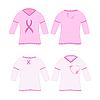 Векторный клипарт: футболки с розовой лентой