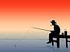 Vector clipart: fisherman on sunset