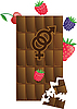 Chocolate bar with berries and sex sign