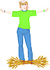 Vector clipart: Girl with wheat ears